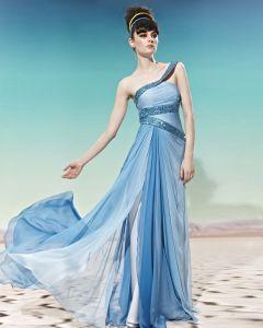 Une Epaule Paillettes Longueur Tencel Les Robes De Soirée De La Femme De Plancher Sans Manches Dos Nu