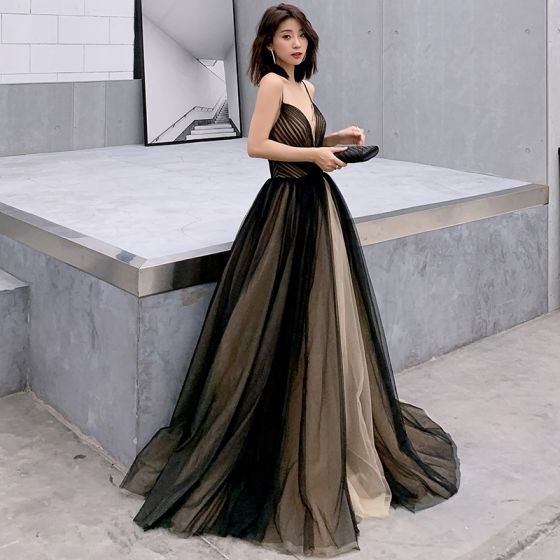 Sexy Black Prom Dresses 2019 A-Line / Princess Spaghetti Straps Sleeveless Floor-Length / Long Ruffle Backless Formal Dresses