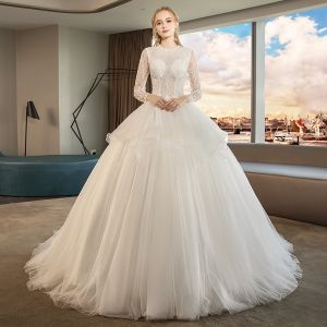 Audrey Hepburn Style Ivory Wedding Dresses 2019 Ball Gown Scoop Neck Beading Lace Flower Pearl Long Sleeve Chapel Train