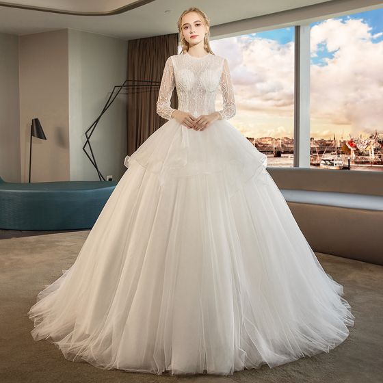 Audrey Hepburn Style Ivory Wedding Dresses 2019 Ball Gown Scoop Neck Beading Lace Flower Pearl Long