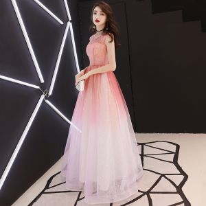 Elegant Gradient-Color Prom Dresses 2018 A-Line / Princess Sequins Scoop Neck Backless Sleeveless Floor-Length / Long Formal Dresses