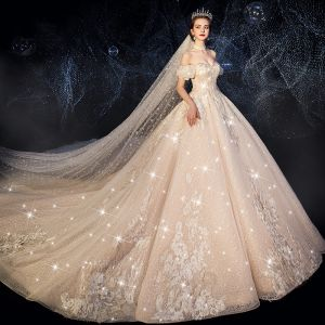 Luxury / Gorgeous Victorian Style Champagne Wedding Dresses 2019 A-Line / Princess Off-The-Shoulder Rhinestone Sequins Lace Flower Short Sleeve Backless Royal Train