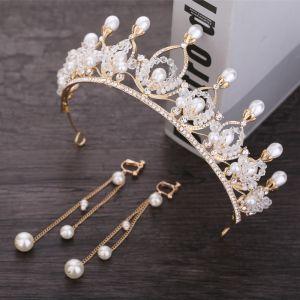 Chic / Beautiful Gold Bridal Jewelry 2020 Metal Beading Rhinestone Pearl Tiara Tassel Earrings Wedding Accessories