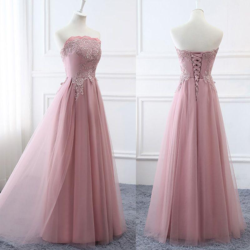 Niedrogie Rumieniąc Różowy Sukienki Dla Druhen 2019 Princessa Aplikacje Z Koronki Długie Wzburzyć Bez Pleców Sukienki Na Wesele