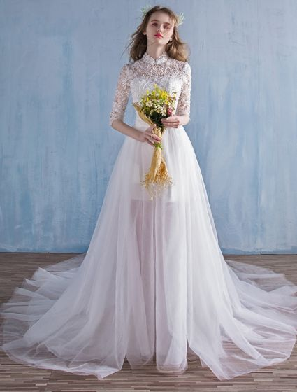 Elegant Beach Wedding Dresses 2016 A-line High Neck Lace Bridal Gown With Detachable Train