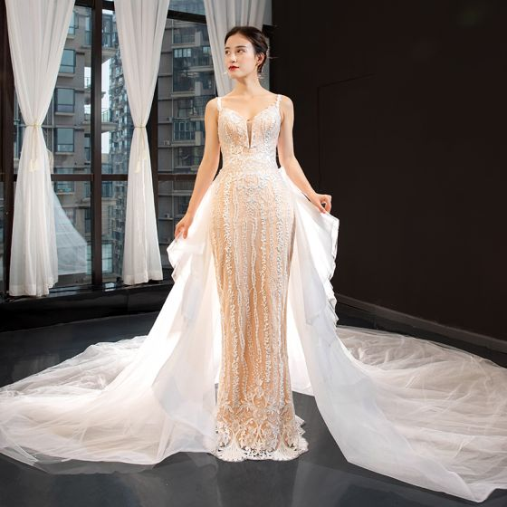 Luxury / Gorgeous Champagne Wedding Dresses 2020 Trumpet / Mermaid Spaghetti Straps Sleeveless Backless Appliques Lace Detachable Cathedral Train Ruffle