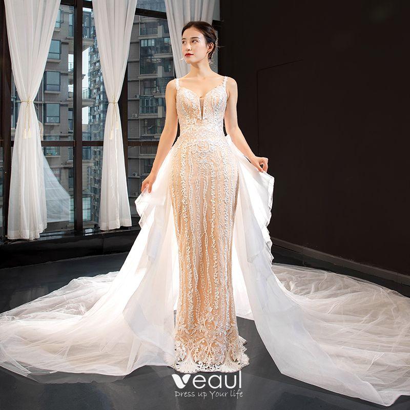 Luxury / Gorgeous Champagne Wedding Dresses 2020 Trumpet