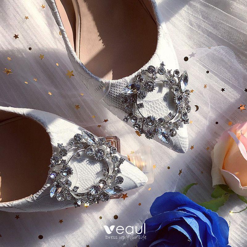 Chic / Beautiful White Wedding Bridesmaid Pumps 2019 Lace Rhinestone 7 cm Stiletto Heels Pointed Toe Womens Shoes