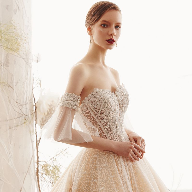 Elegant Champagne Lace Wedding Dresses 2019 A-Line / Princess Sweetheart Detachable Bell sleeves Backless Beading Pearl Cathedral Train Ruffle