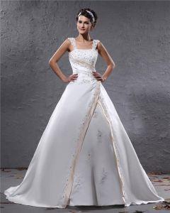 Elegant Sateng Applikere Beaded Skulder Stropper Gulv Lengde Ball Kjole Brudekjoler Bryllupskjoler