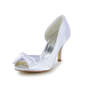 Chic White Bridal Shoes Stiletto Heel Peep Toe Satin Pumps With Bow
