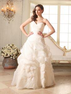 Fleurs À La Main À Volants Des Robes De Mariée Une Épaule Robe De Bal Sweetheart