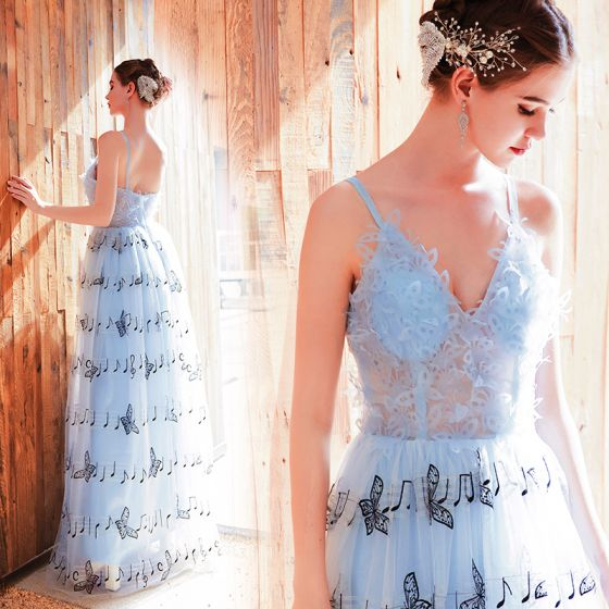 Charming Sky Blue Evening Dresses  2019 A-Line / Princess Spaghetti Straps Butterfly Appliques Sleeveless Backless Floor-Length / Long Formal Dresses