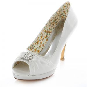 Classic White Satin Bridal Shoes Stiletto Heels 4 Inch High Heel Peep Toe Pumps With Crystal