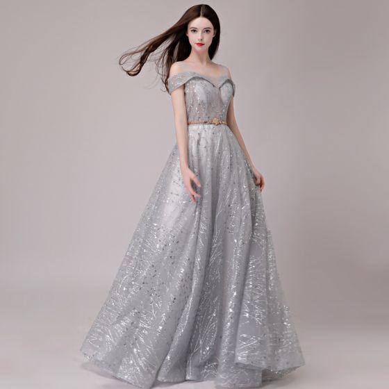 Eleganta Silver Aftonklänningar 2018 Prinsessa Glittriga / Glitter Paljetter Metall Skärp Axlar Ärmlös Långa Formella Klänningar