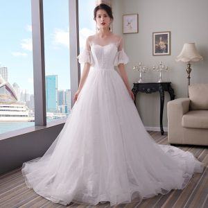 Modest / Simple White Wedding Dresses 2018 A-Line / Princess See-through Scoop Neck Bell sleeves Appliques Lace Chapel Train Ruffle