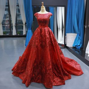 Luxury / Gorgeous Red Red Carpet Evening Dresses  2020 A-Line / Princess Square Neckline Short Sleeve Backless Heart-shaped Appliques Lace Sequins Sash Court Train Ruffle Formal Dresses