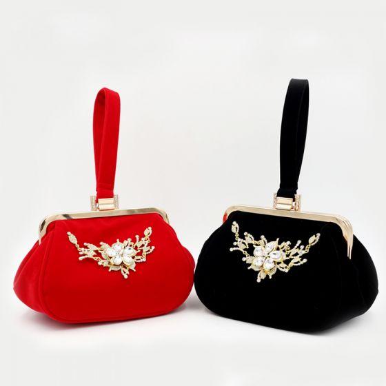 Mooie / Prachtige Rode Handtassen Kralen Kristal Rhinestone Velour Thuiskomst Feest Avond Accessoires 2019
