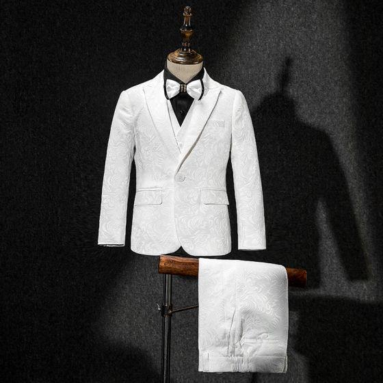 Witte Jas Vest Broek Das Zwarte Overhemd Geborduurde Jongenspakken 2019