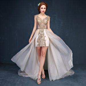 Luxury / Gorgeous Champagne Evening Dresses  2017 A-Line / Princess Lace Crystal Rhinestone V-Neck Backless Sleeveless Asymmetrical Chapel Train Formal Dresses