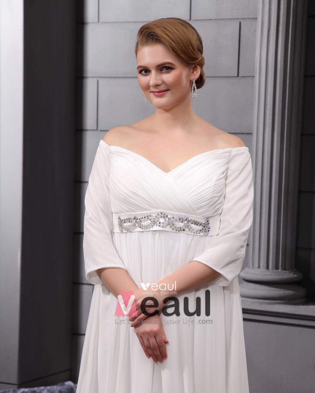 Chiffon Beads V Neck Floor Length Plus Size Bridal Gown Wedding Dress