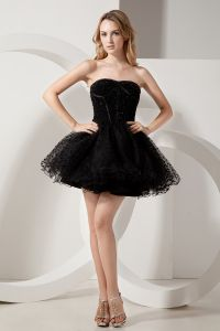 2015 Designer Tulle Sweetheart Zipper Black Cocktail Dress