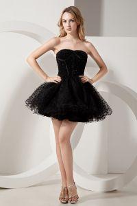 2015 Designer Tulle Sweetheart Zipper Black Cocktail Dress