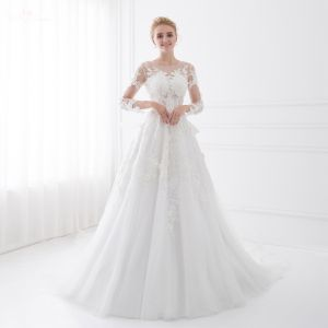 Chic / Beautiful White Wedding Dresses 2018 A-Line / Princess Bow Lace Flower Scoop Neck Backless 3/4 Sleeve Floor-Length / Long Wedding