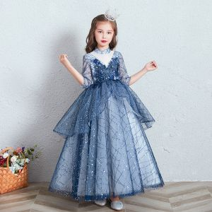 Chic / Beautiful Royal Blue See-through Birthday Flower Girl Dresses 2020 Ball Gown High Neck 3/4 Sleeve Appliques Flower Beading Sequins Floor-Length / Long Ruffle