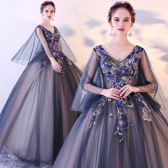 Chic / Beautiful Navy Blue Prom Dresses 2017 Ball Gown V-Neck Sleeveless Embroidered Sequins Floor-Length / Long Ruffle Backless Formal Dresses