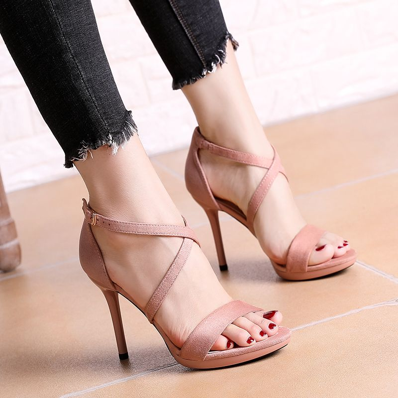 Chic / Beautiful Evening Party Womens Shoes 2017 PU X-Strap High Heel Open / Peep Toe Pumps