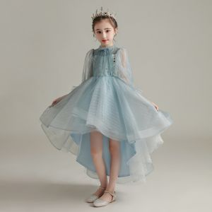 High Low Sky Blue See-through Birthday Flower Girl Dresses 2020 Ball Gown High Neck Puffy Long Sleeve Sequins Asymmetrical Ruffle