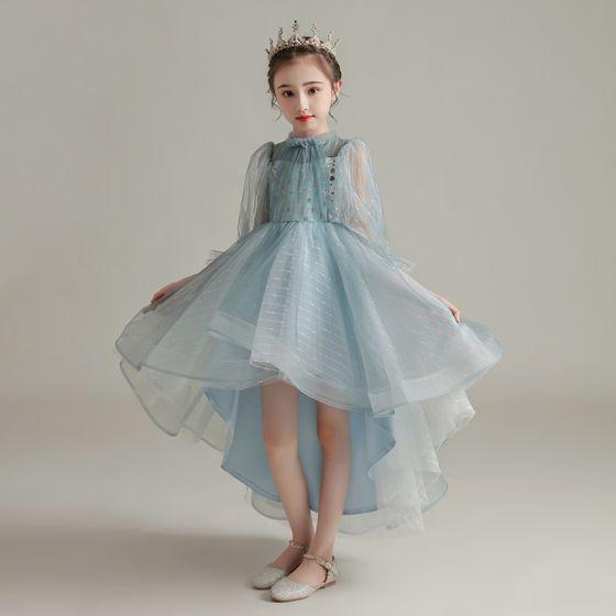 High Low Sky Blue See-through Birthday Flower Girl Dresses 2020 Ball Gown High Neck Puffy Long Sleeve Sequins Asymmetrical Ruffle