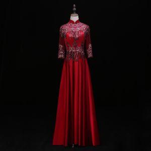 Chinese style Burgundy Evening Dresses  2019 A-Line / Princess High Neck Lace Flower Sequins Tassel 3/4 Sleeve Backless Floor-Length / Long Formal Dresses