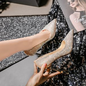 Sparkly Gold Crystal Wedding Shoes 2020 Leather Rhinestone 8 cm Stiletto Heels Pointed Toe Wedding Pumps