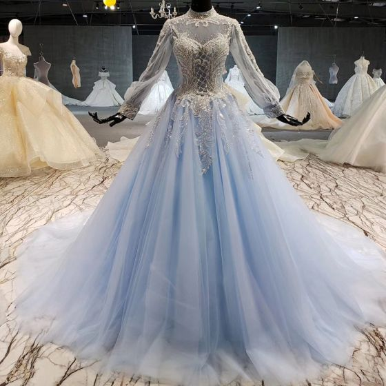 Luxury / Gorgeous Sky Blue Prom Dresses 2020 A-Line / Princess Long Sleeve Scoop Neck Tulle Handmade  Backless Beading Crystal Sequins Chapel Train Evening Party Prom Formal Dresses