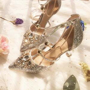 Sparkly Silver Wedding Bridesmaid High Heels 2019 T-Strap Rhinestone Sequins 8 cm Stiletto Heels Pointed Toe Wedding Shoes