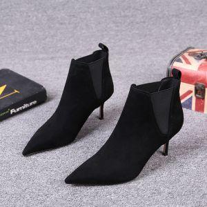 Stilig Svart Gateklær Lær Suede Kvinners støvler 2021 7 cm Stiletthæler Spisse Ankel Boots