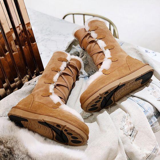 Unique Braun Schneestiefel 2020 Winter Woll Leder X-Riemen Freizeit Garten / Im Freien Stiefel Damen