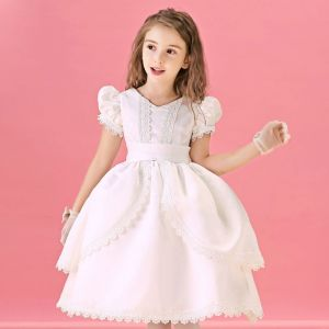 Autumn And Winter White Flower Lace Princess Dress
