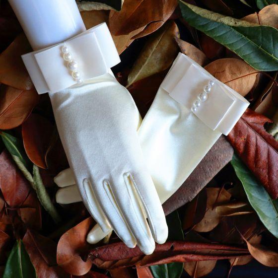 Luksusowe Kość Słoniowa Rękawiczki Ślubne 2020 Satyna Frezowanie Perła Bal Ślub Akcesoria