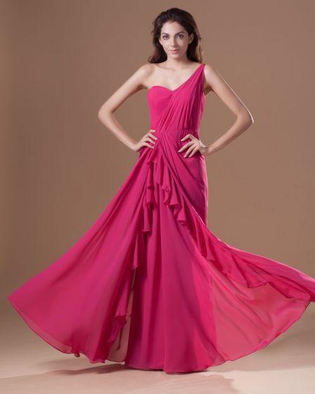 Chiffon Ruffle One Shoulder Floor Length Pleated Prom Dress