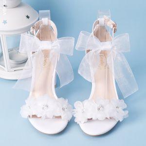 Élégant Blanche Été Chaussure De Mariée 2018 Lacer Boucle Noeud Perle Faux Diamant 7 cm Talons Épais Peep Toes / Bout Ouvert Mariage Talons