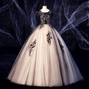 Elegant Black Prom Dresses 2020 Ball Gown Suede Scoop Neck Lace Flower Sequins Rhinestone Short Sleeve Backless Floor-Length / Long Formal Dresses
