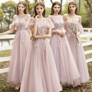 Affordable Blushing Pink Bridesmaid Dresses 2020 A-Line / Princess Appliques Lace Backless Floor-Length / Long Ruffle