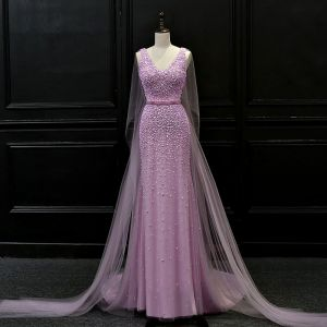 Luxury / Gorgeous Lilac Evening Dresses  2018 Trumpet / Mermaid V-Neck Sleeveless Beading Sash Watteau Train Ruffle Backless Formal Dresses