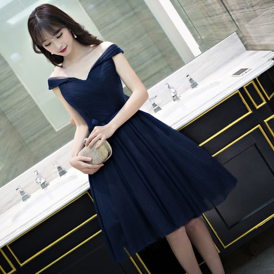 Sexy Navy Blue Graduation Dresses 2017 A-Line / Princess Backless Off-The-Shoulder Short Sleeve Short Formal Dresses