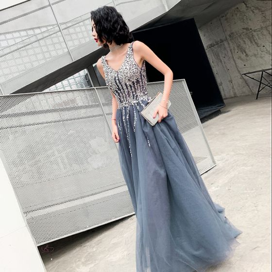 Best Grey Evening Dresses  2019 A-Line / Princess V-Neck Sleeveless Sequins Floor-Length / Long Ruffle Backless Formal Dresses