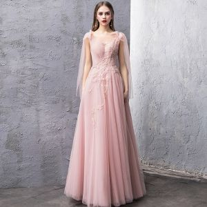 Chic / Beautiful Pearl Pink Evening Dresses  2019 A-Line / Princess See-through Square Neckline Sleeveless Beading Floor-Length / Long Ruffle Backless Formal Dresses