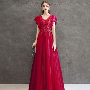 Hermoso Rojo Vestidos de noche 2020 A-Line / Princess V-Cuello Manga Corta Apliques Rebordear Largos Ruffle Sin Espalda Vestidos Formales